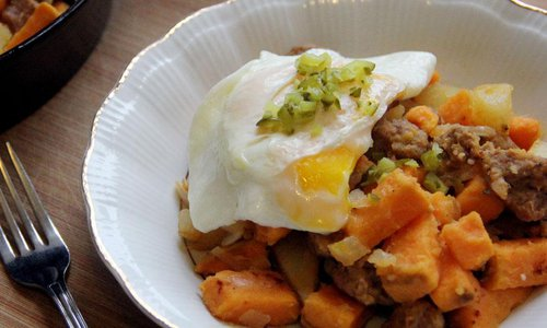 Sweet Potato and Andouille Hash