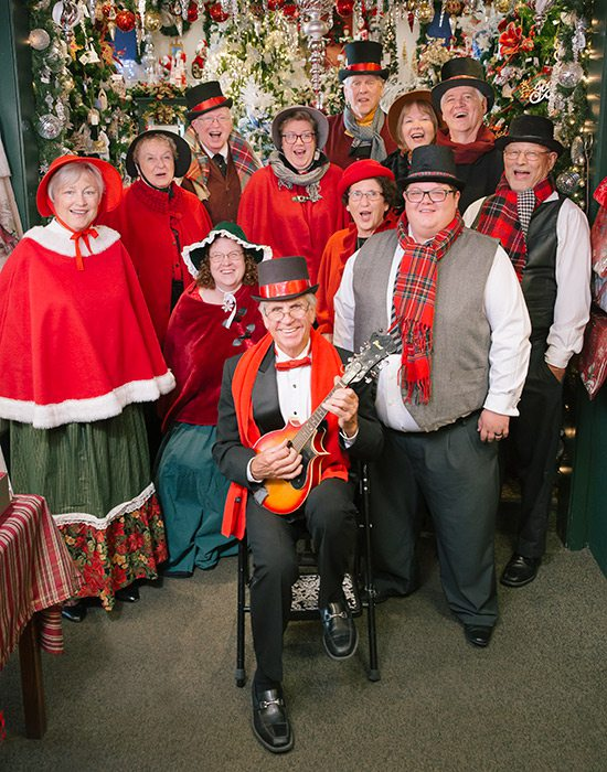 Dickens Carolers of Branson inside Kringle's Christmas Shop in Branson MO