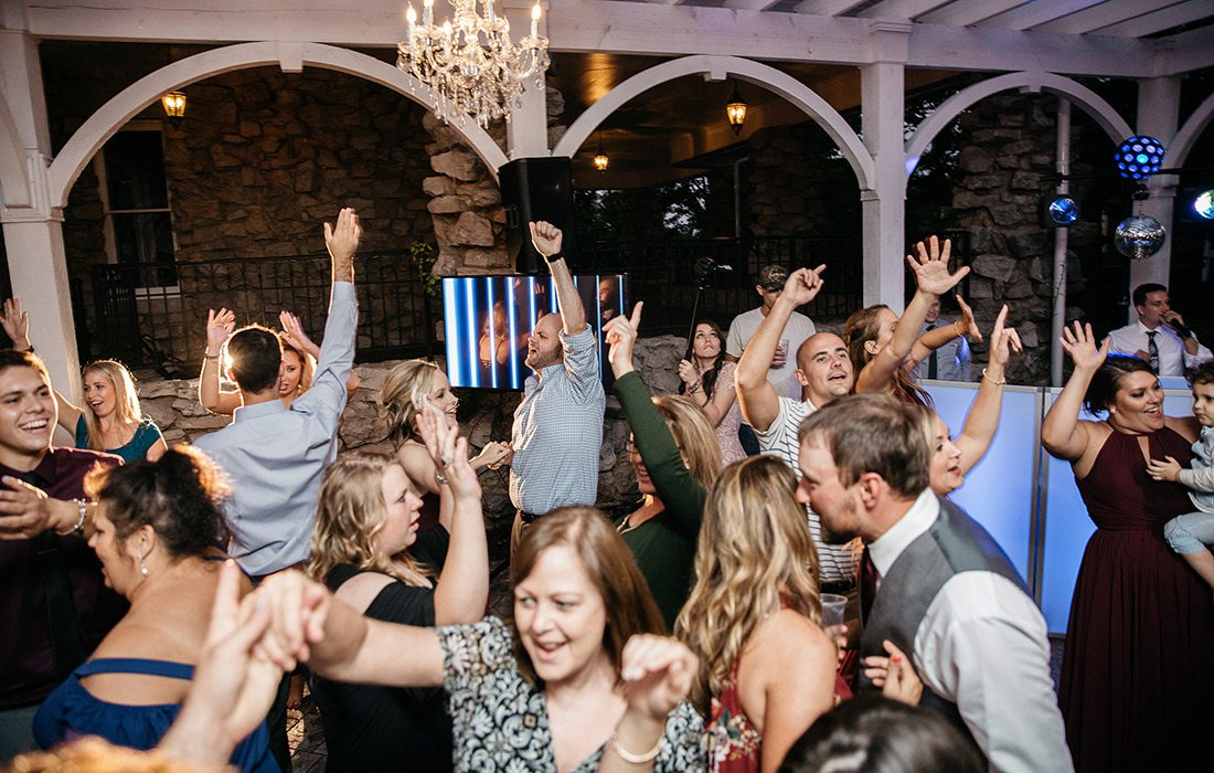 Wedding guests dancing to songs chosen by DJ Broc Barton of Elevate Entertainment
