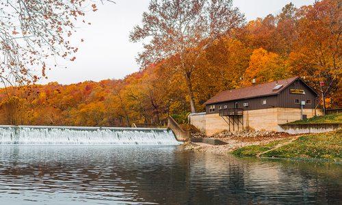 River banks at Bennett Springs State Park in Missouri