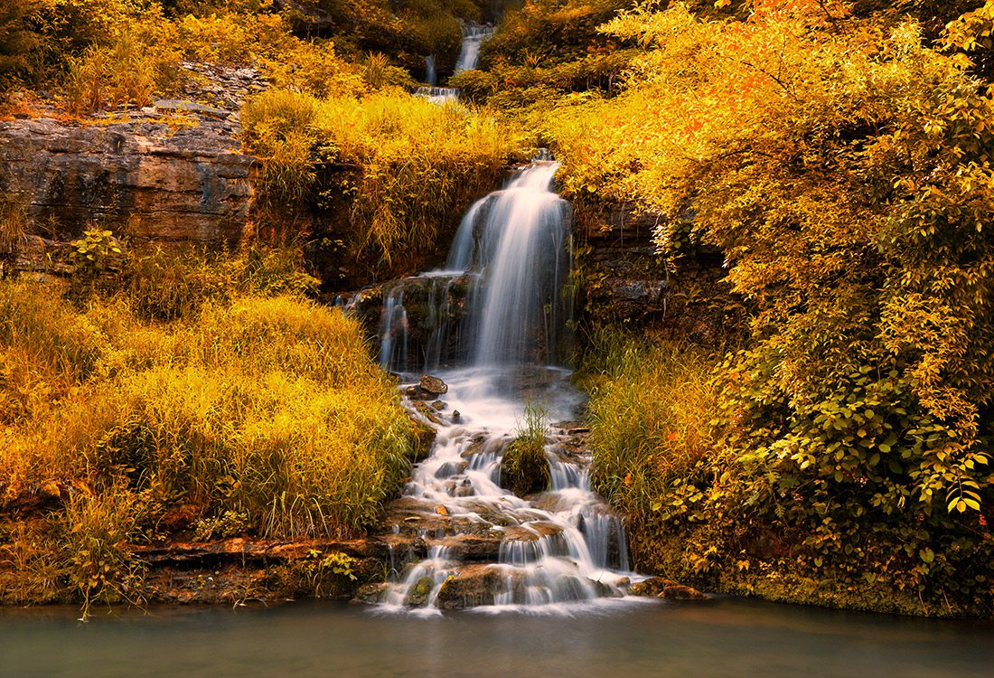 Waterfall along the Dogwood Canyon Trail in Missouri