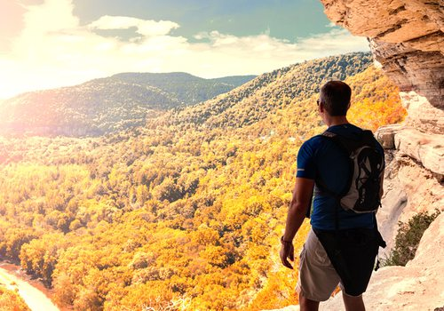 Man looking over the Ozarks from Goat Trail