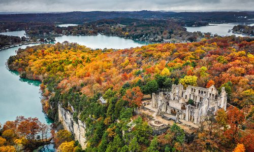 Aerial view of rocky bluffs and castle ruins at Ha Ha Tonka in Camdenton, Missouri