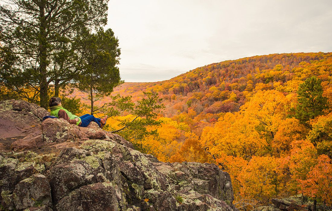 Woman at a scenic spot along Mina Sauk Falls trail in Missouri