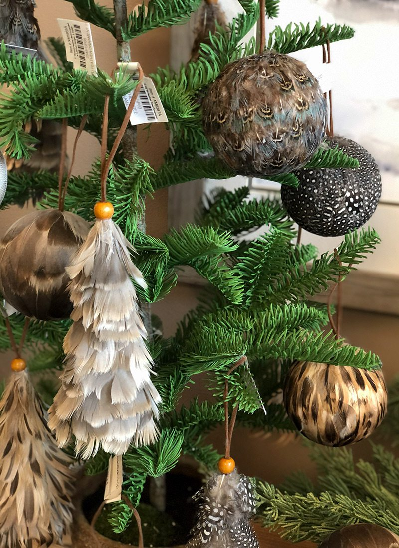 Feathered tree ornaments