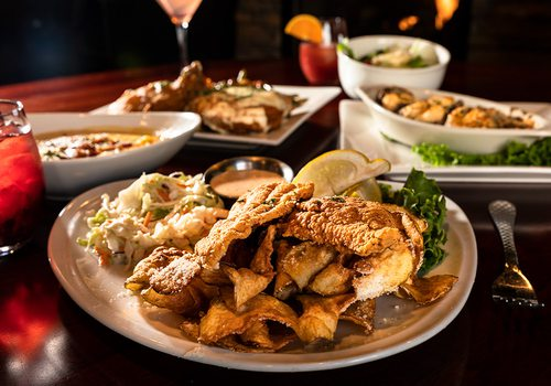 Fried catfish and other dishes at Finn's in Joplin MO