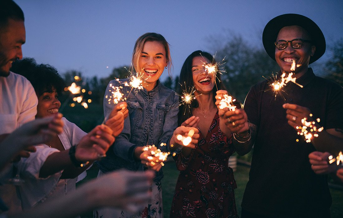 Group of people with sparklers