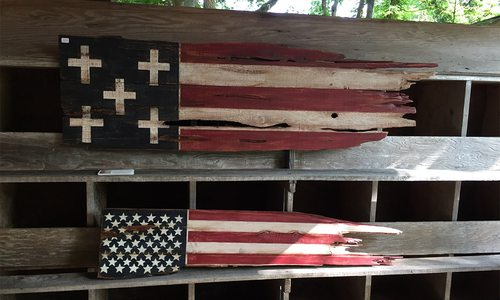 Wooden Flags Made by Local Artist Kristine Grippo in Springfield, MO