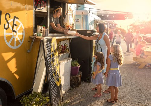 serving food out of a food truck