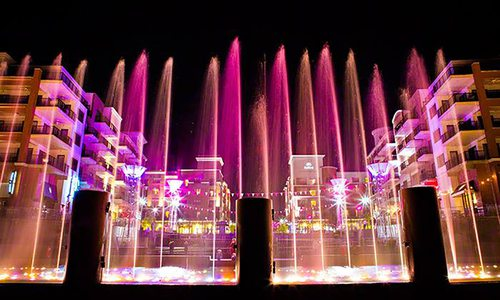 Branson Landing fountains at night
