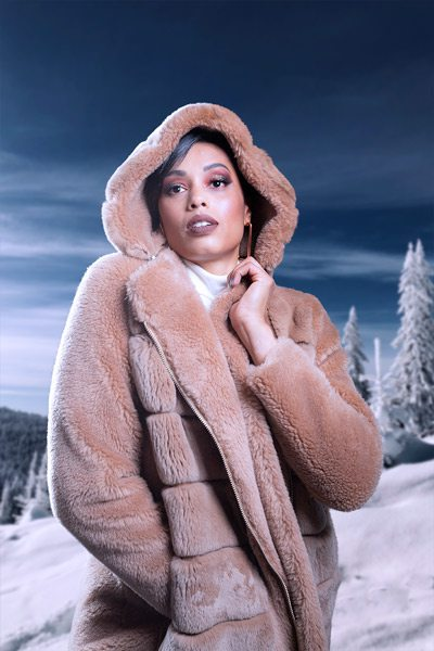 Christina Ford poses for fox fur photoshoot