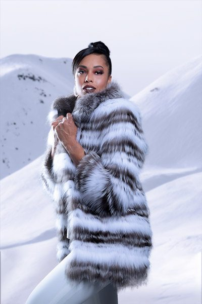 Christina Ford poses in fox fur photoshoot