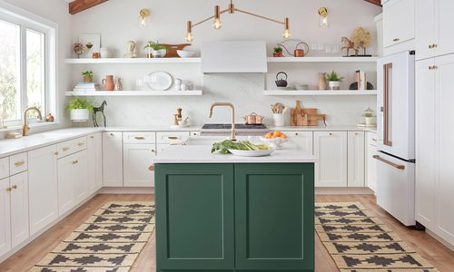 White Appliances and Decor in kitchen