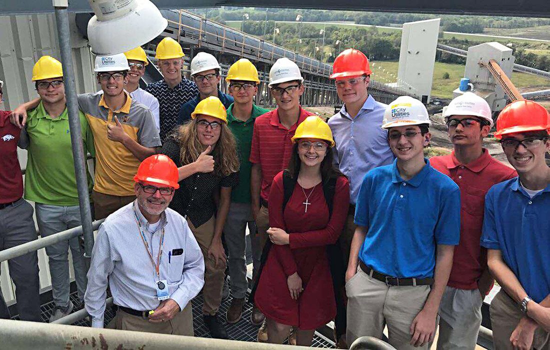 Tanner Hartman and his GO CAPs group at the Springfield Power Plant