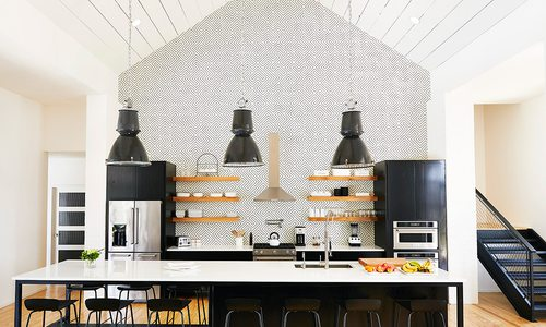 Statement wall with a geometric tile backsplash