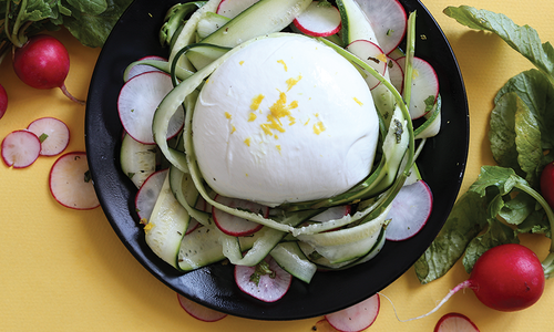 Burrata with Lemony Spring Vegetables