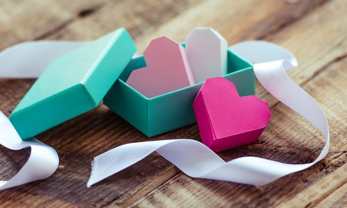 Paper hearts in a gift box