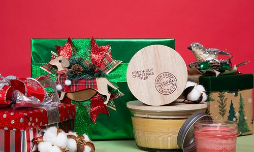 Gift wrapped presents on red background