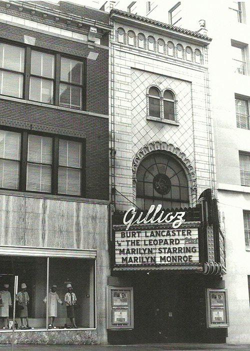 Historic Gillioz Theatre marquee 1963