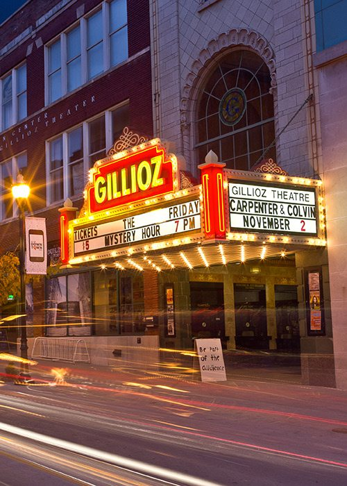 Historic Gillioz Theatre marquee today