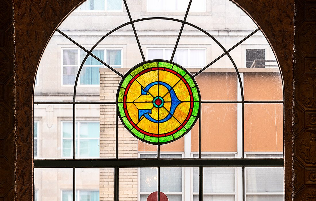 Stained glass window in the upper facade of the Gillioz Theatre Springfield Missouri