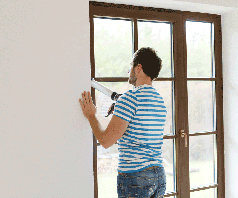 In cooler months, caulking windows and doors keeps your freshly heated air from escaping outside.