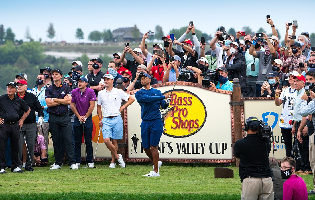 Tiger Woods tees off at the opening of Payne's Valley in September 2020