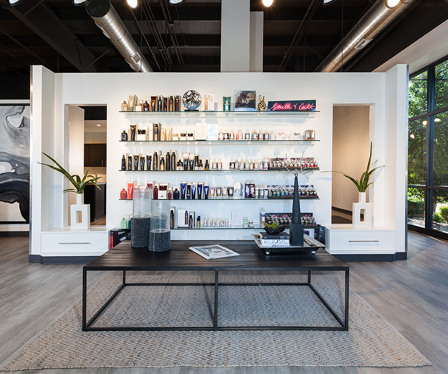 Karma Salon's remodeled entrance area has all of products on display for customers to browse.