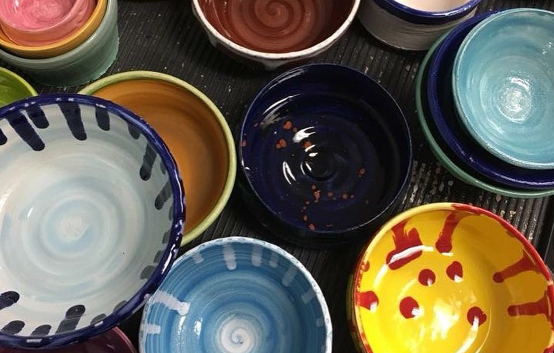 Wheel thrown ceramic bowls at the Art Zone in Nixa MO