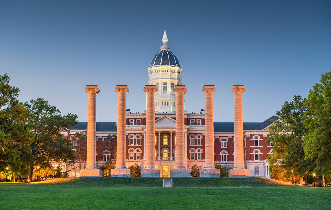 Columns on Mizzou campus in Columbia MO