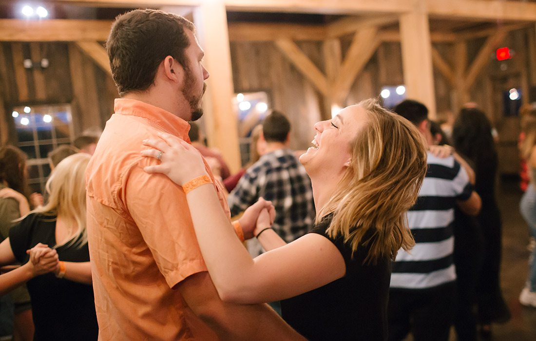 Austin and Haley Phillips learning to dance at Sycamore Creek Family Ranch