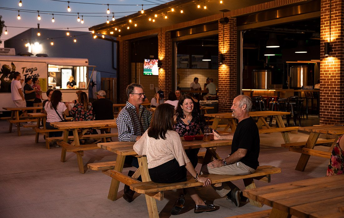 Holdfast Brewery patio in the evening in Springfield MO
