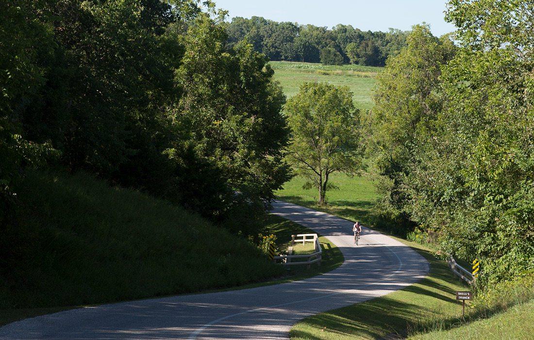Bike on Wilson's Creek Greenway in Wilson's Creek National Battlefield in Springfield Missouri