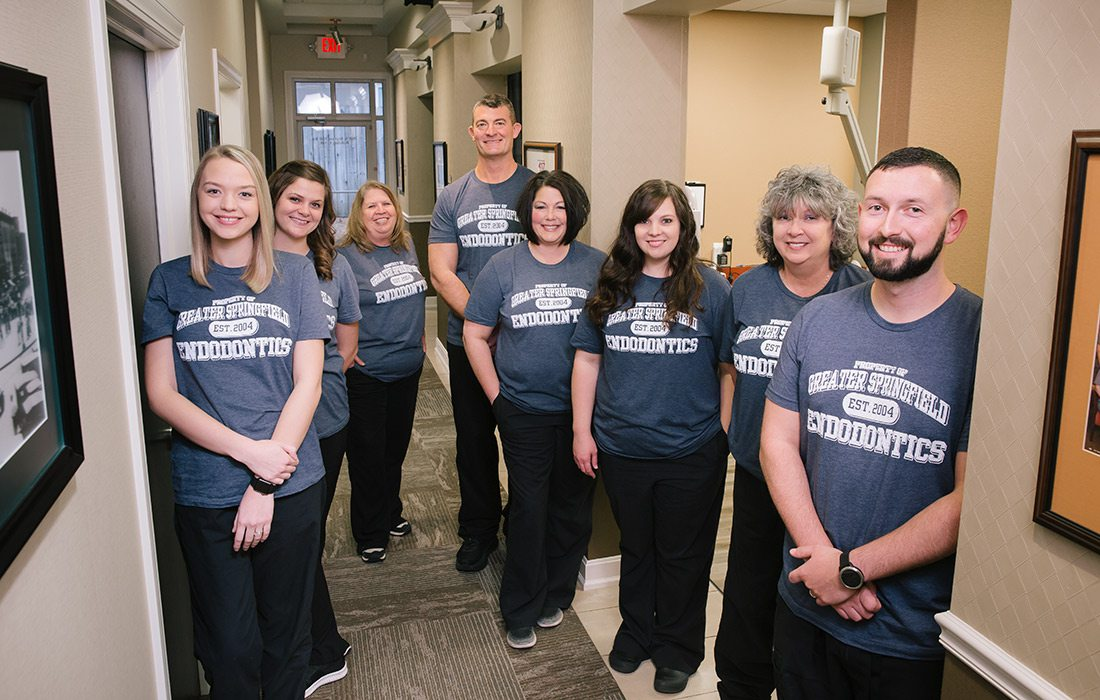 Hannah, Dental Technician; Ashley, Dental Techician; Sandy, Scheduling Coordinator; Dr. Mark A. Massey, DDS, MSD; Kim, Dental Technician; Kristi, Dental Technician; Jenn, Dental Technician; Jordan, Scheduling Coordinator