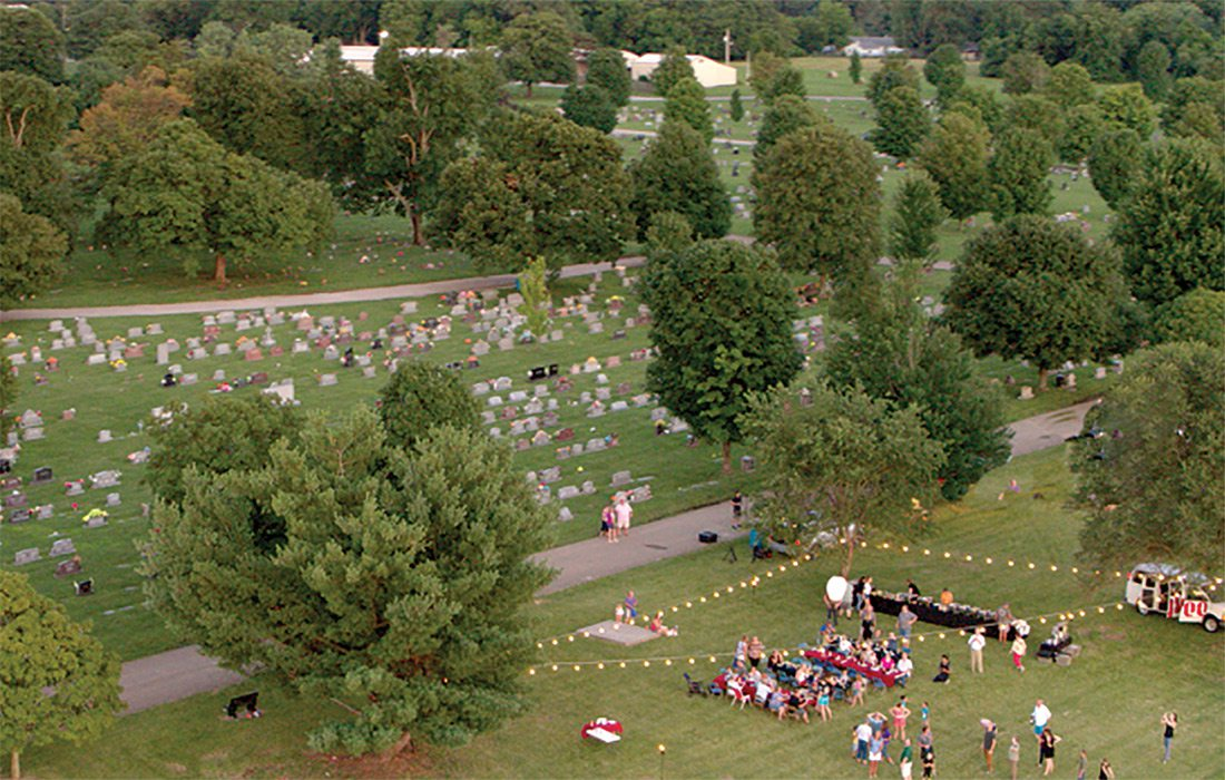 Exterior photo of funeral outdoors