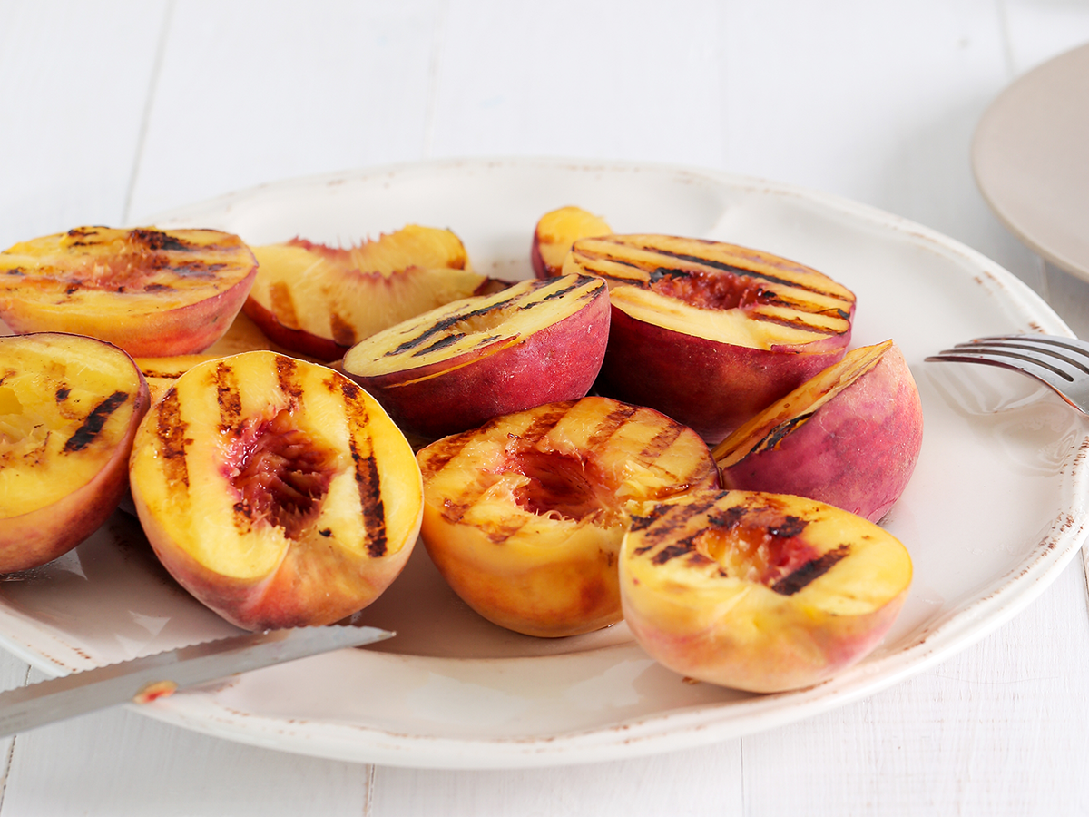 Grilled Glazed Peaches with Peach Thin Crisps