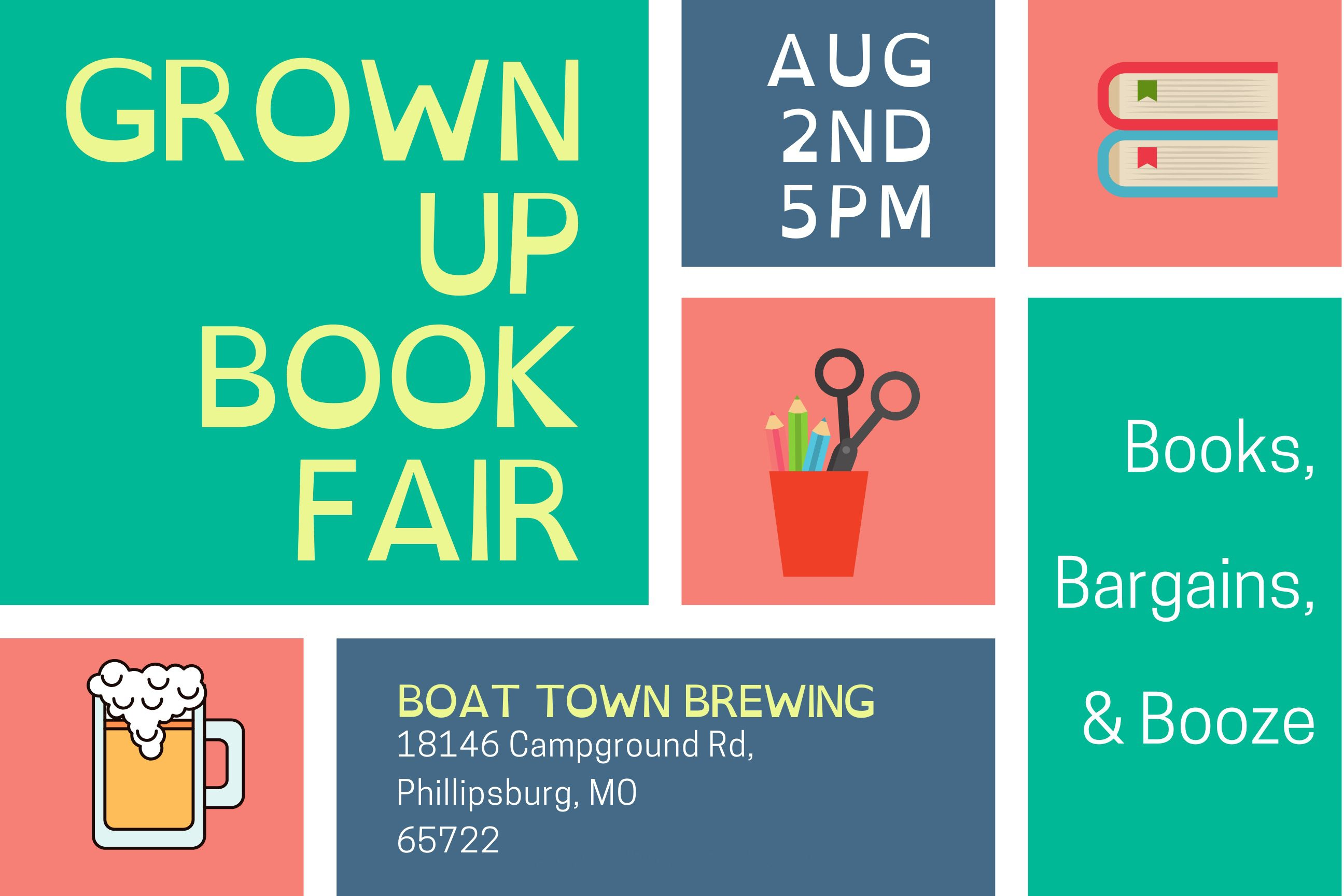 Grown Up Book Fair at Boat Town Brewing