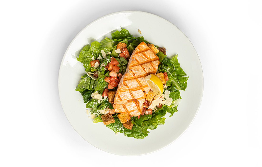 Salmon Caesar Salad at Jimm's Steakhouse & Pub in Springfield MO