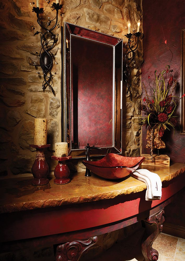 deep red bathroom design