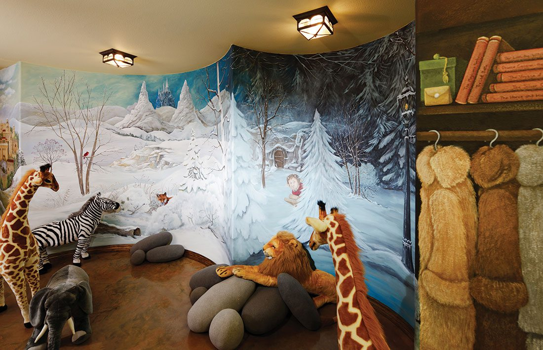 hand painted mural in kids bedroom