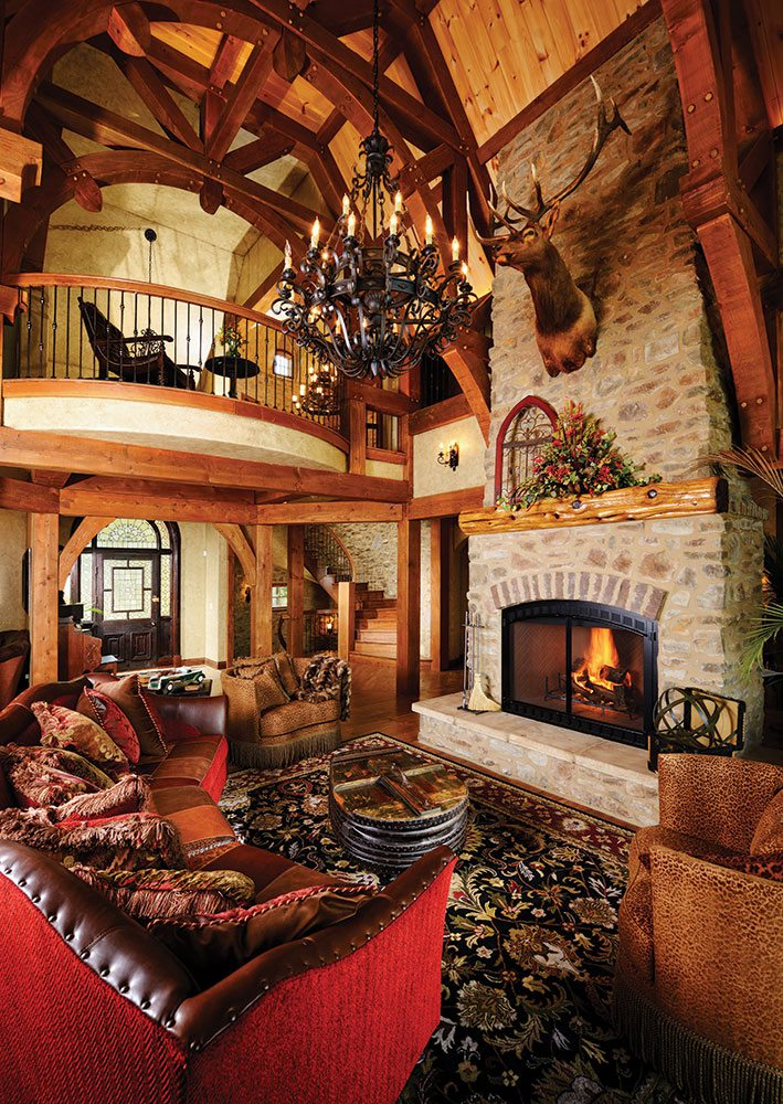 mountain lodge living room design