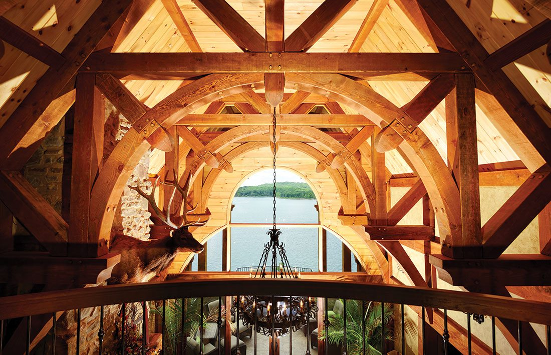 wood work with a view of the lake