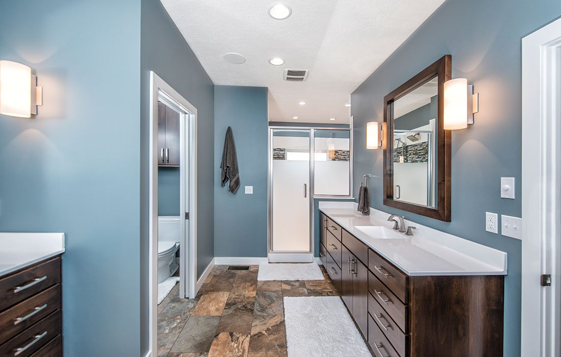 blue master bathroom