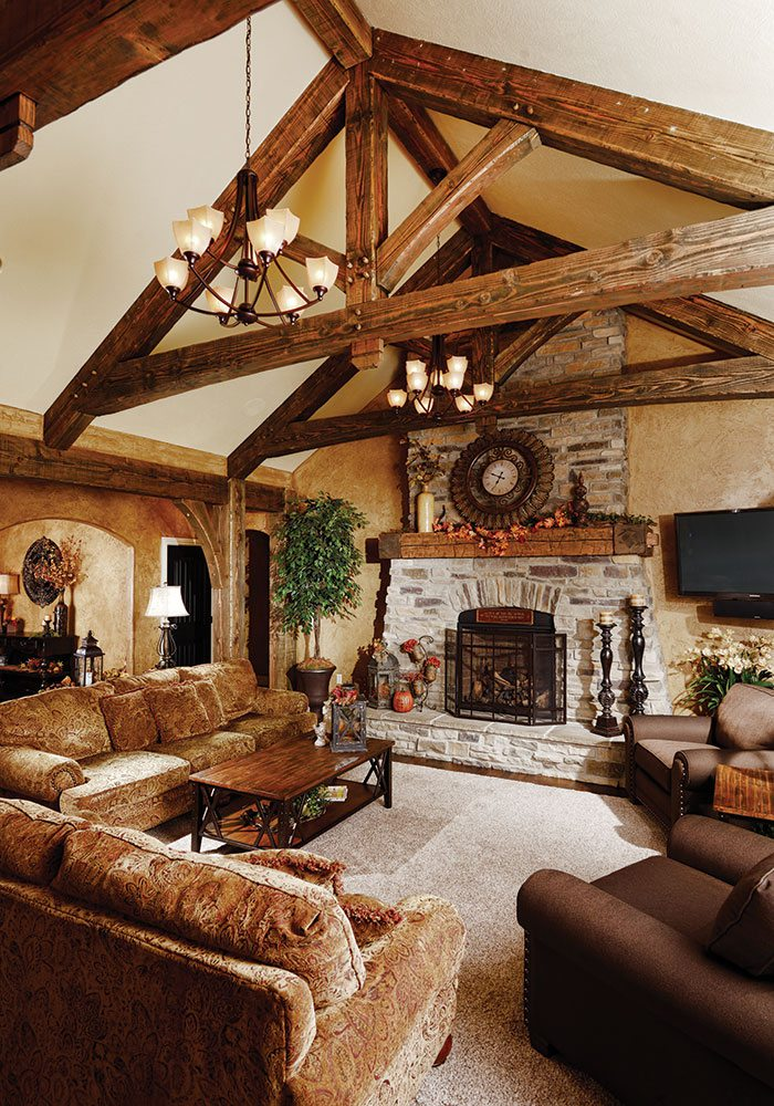 wooden beams on ceiling