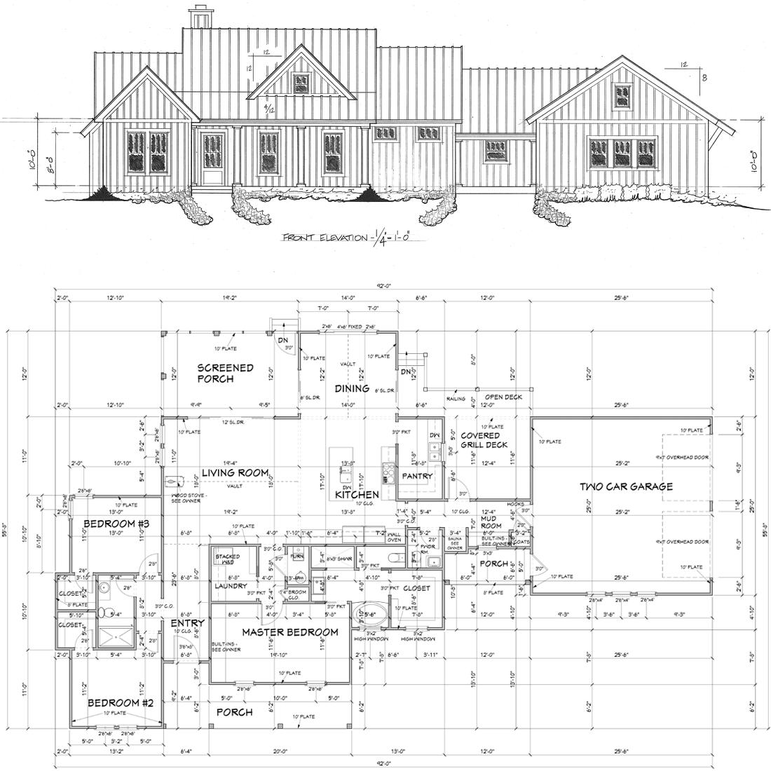 Floor plans of a modern farmhouse in southwest Missouri