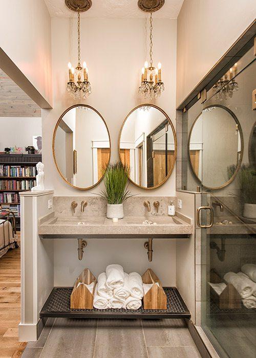 Bathroom vanity of a modern farmhouse in southwest Missouri