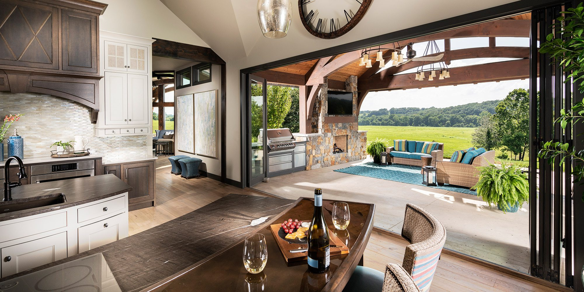Open air kitchen overlooking an infinity pool