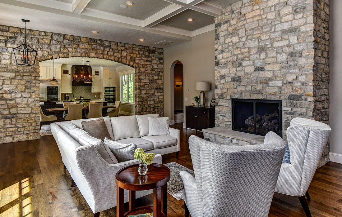 Living room of modern craftsman style home in southwest Missouri