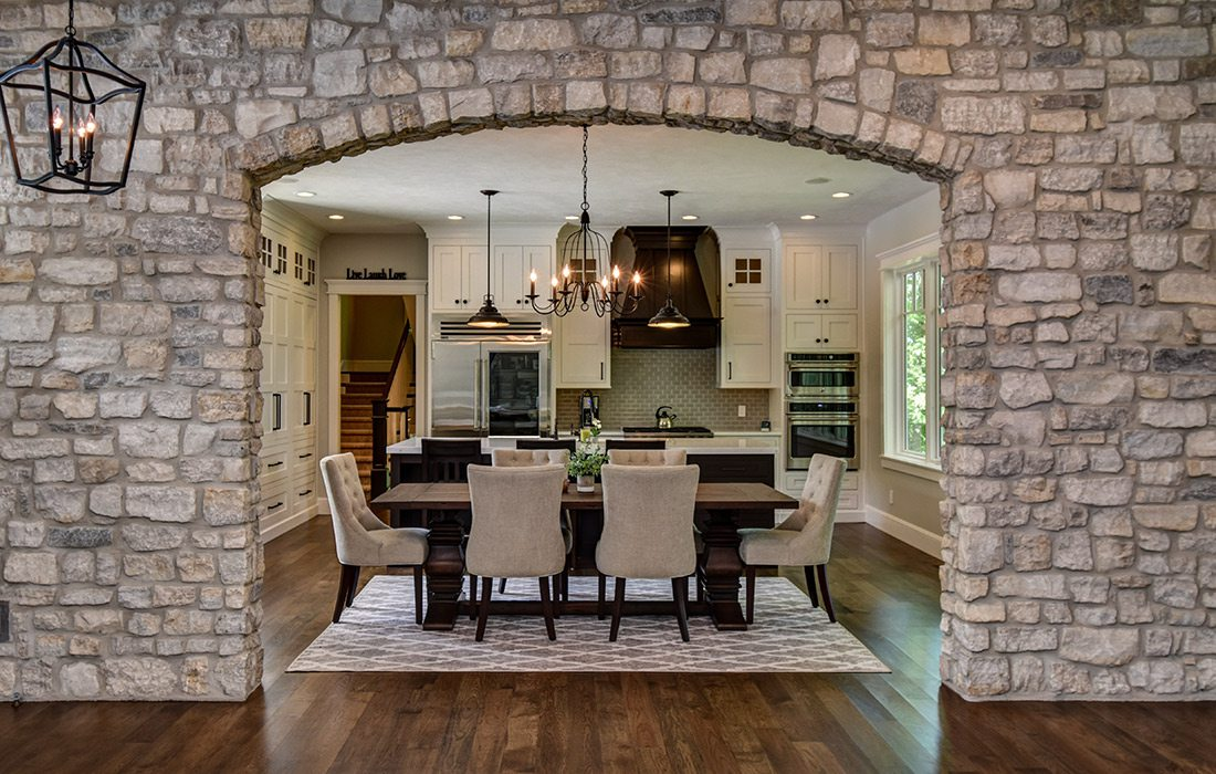 Dining room of modern craftsman style home in southwest Missouri
