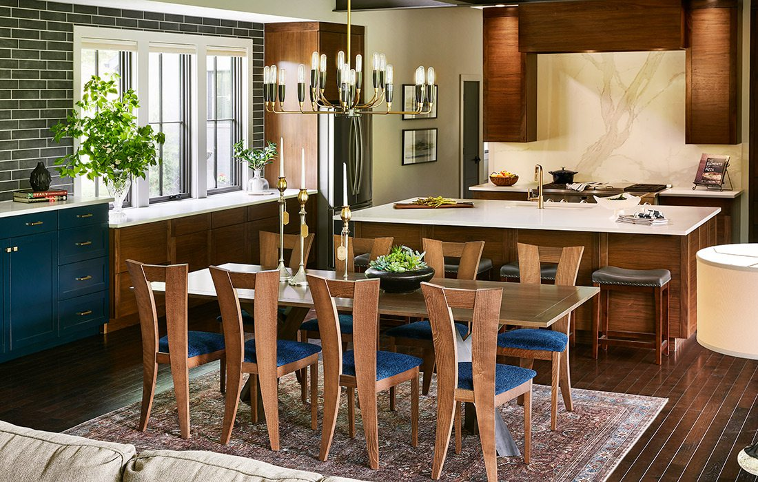 Dining room and kitchen of rustic midcentury modern home in southwest Missouri